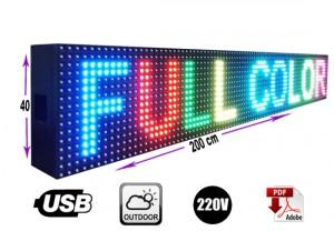Letrero programable led  40 x 200 cm rgb o multicolor outdoor