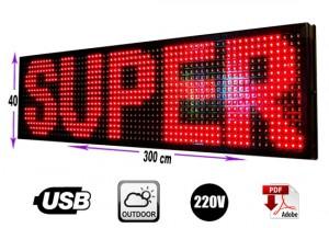 Letrero programable led  40x 300 cm rojo outdoor/gran avda. 8051