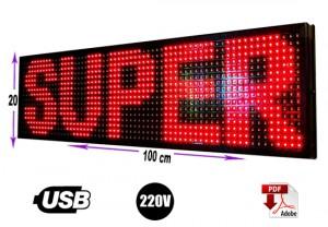 letrero led programable 20 x 100 cm  color rojo/gran avda. 8051